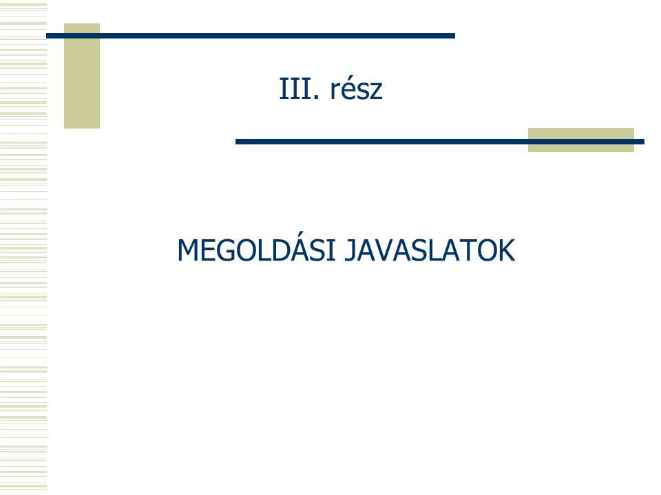 III. rész MEGOLDÁSI JAVASLATOK