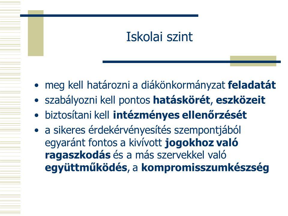 Iskolai szint meg kell határozni a diákönkormányzat feladatát szabályozni kell pontos hatáskörét, eszközeit biztosítani kell intézményes ellenőrzését a sikeres érdekérvényesítés szempontjából egyaránt fontos a kivívott jogokhoz való ragaszkodás és a más szervekkel való együttműködés, a kompromisszumkészség