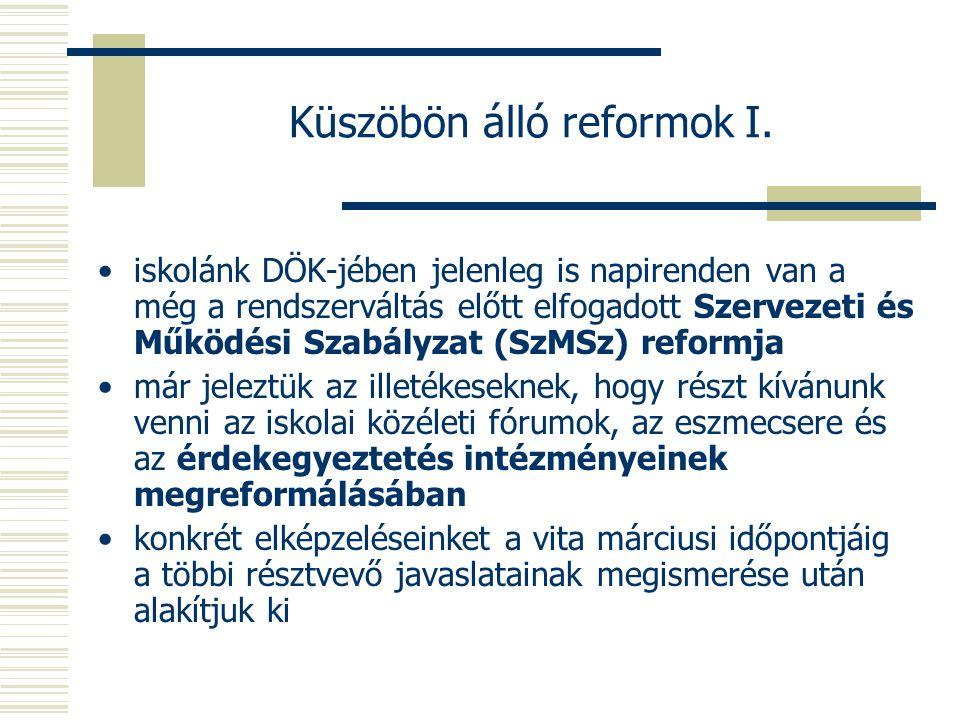 Küszöbön álló reformok I.