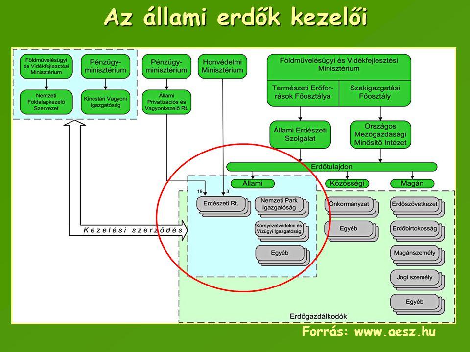 Az állami erdők kezelői Forrás: www.aesz.hu