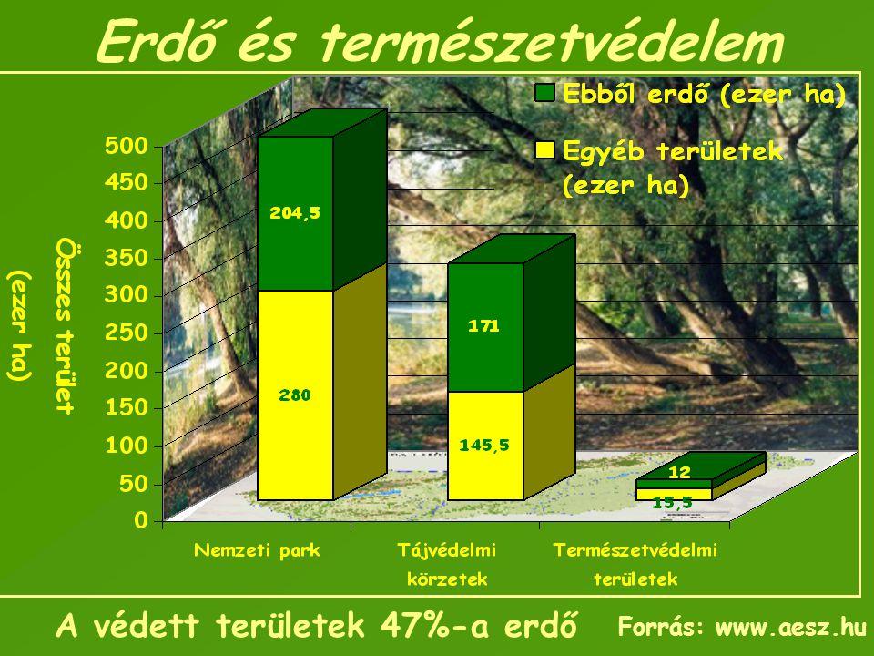 Erdő és természetvédelem A védett területek 47%-a erdő Forrás: www.aesz.hu