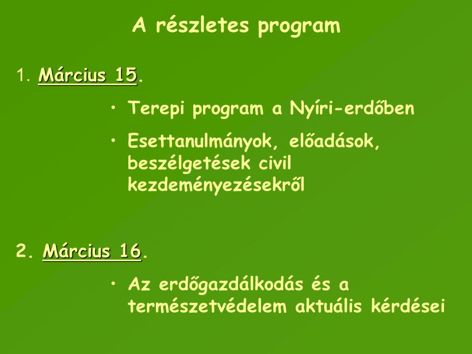 A részletes program Március 15 1. Március 15. Terepi program a Nyíri-erdőben Esettanulmányok, előadások, beszélgetések civil kezdeményezésekről Márciu