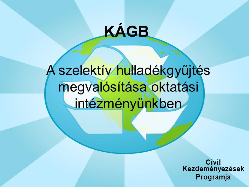 KÁGB Civil Kezdeményezések Programja A szelektív hulladékgyűjtés megvalósítása oktatási intézményünkben
