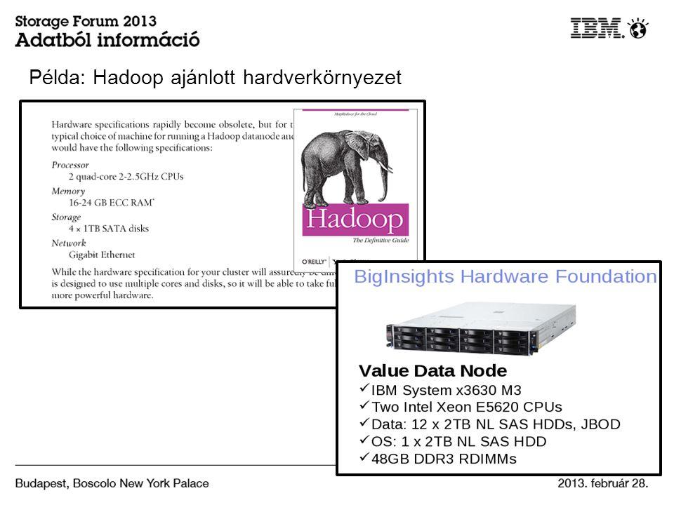 Példa: Hadoop ajánlott hardverkörnyezet