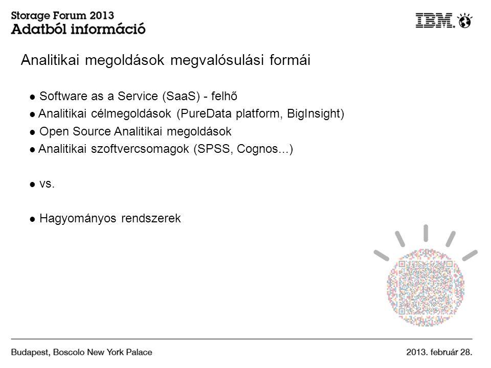 Analitikai megoldások megvalósulási formái Software as a Service (SaaS) - felhő Analitikai célmegoldások (PureData platform, BigInsight) Open Source Analitikai megoldások Analitikai szoftvercsomagok (SPSS, Cognos...) vs.
