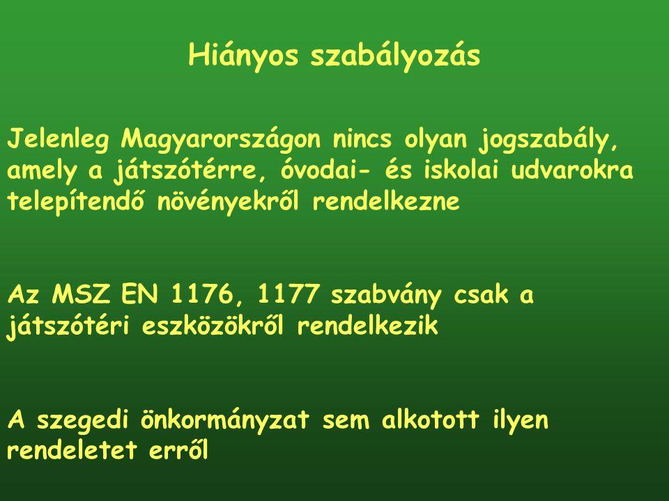 Hiányos szabályozás Jelenleg Magyarországon nincs olyan jogszabály, amely a játszótérre, óvodai- és iskolai udvarokra telepítendő növényekről rendelke