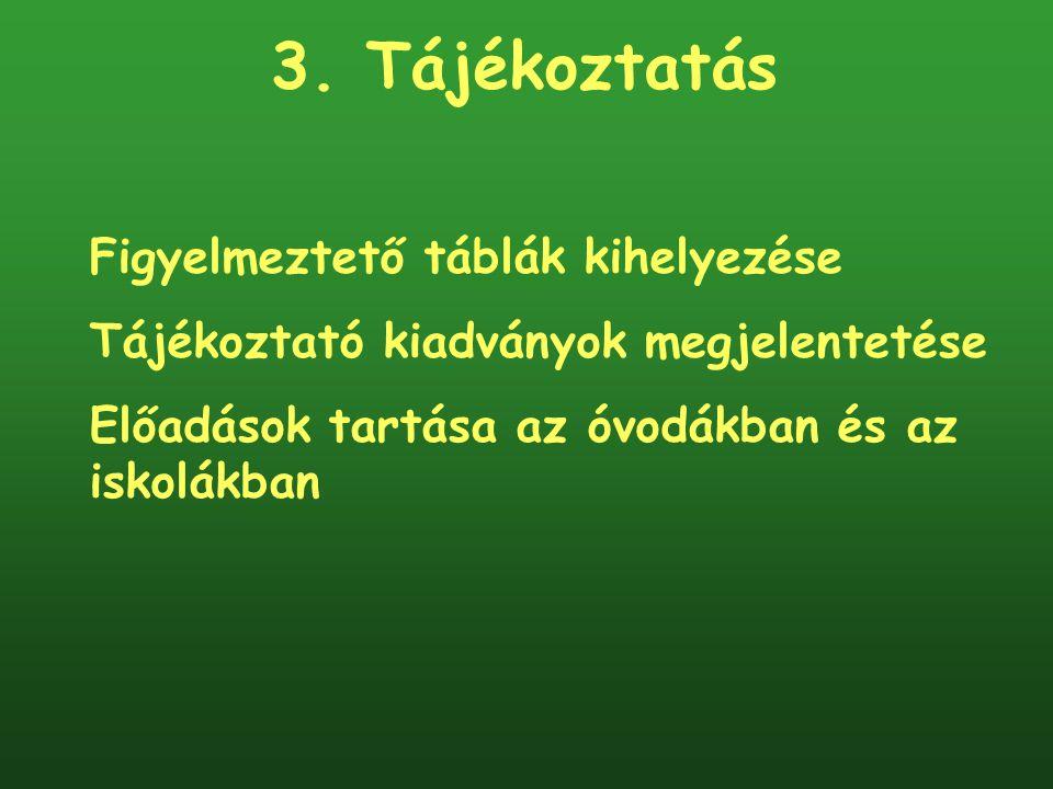 3. Tájékoztatás Figyelmeztető táblák kihelyezése Tájékoztató kiadványok megjelentetése Előadások tartása az óvodákban és az iskolákban