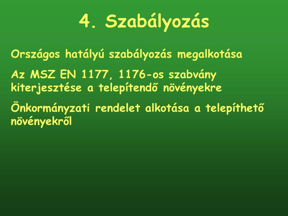 4. Szabályozás Országos hatályú szabályozás megalkotása Az MSZ EN 1177, 1176-os szabvány kiterjesztése a telepítendő növényekre Önkormányzati rendelet