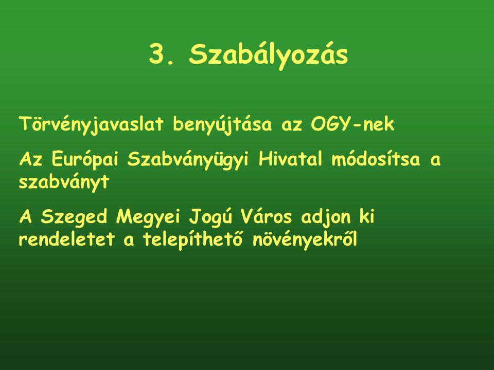 3. Szabályozás Törvényjavaslat benyújtása az OGY-nek Az Európai Szabványügyi Hivatal módosítsa a szabványt A Szeged Megyei Jogú Város adjon ki rendele