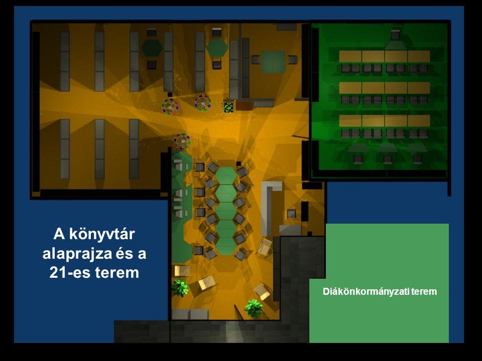 www.company.com Diákönkormányzati terem A könyvtár alaprajza és a 21-es terem