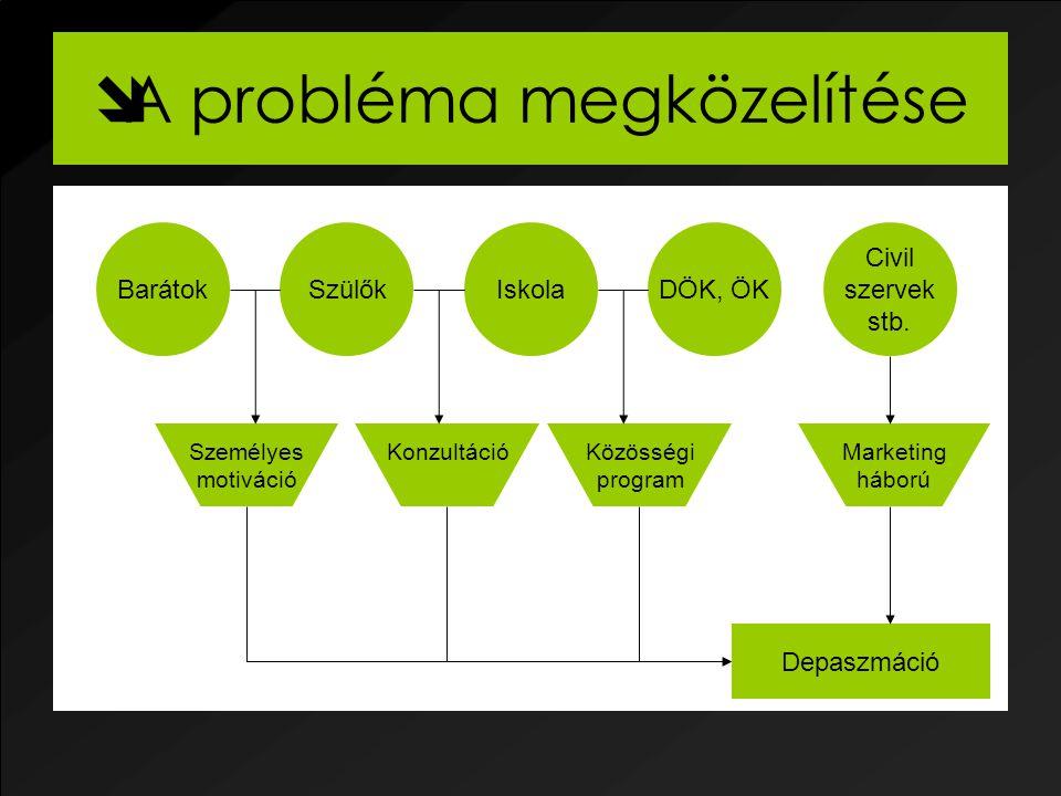  A probléma megközelítése Depaszmáció SzülőkIskolaBarátokDÖK, ÖK Civil szervek stb.