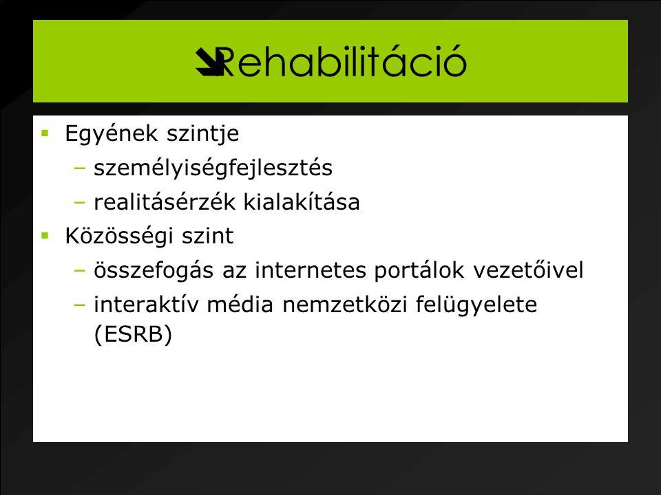  Rehabilitáció  Egyének szintje –személyiségfejlesztés –realitásérzék kialakítása  Közösségi szint –összefogás az internetes portálok vezetőivel –interaktív média nemzetközi felügyelete (ESRB)
