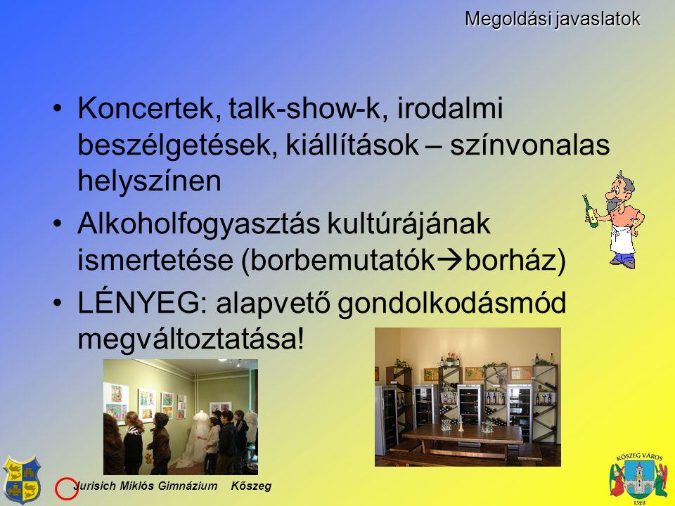 Jurisich Miklós Gimnázium Kőszeg Megoldási javaslatok Koncertek, talk-show-k, irodalmi beszélgetések, kiállítások – színvonalas helyszínen Alkoholfogy