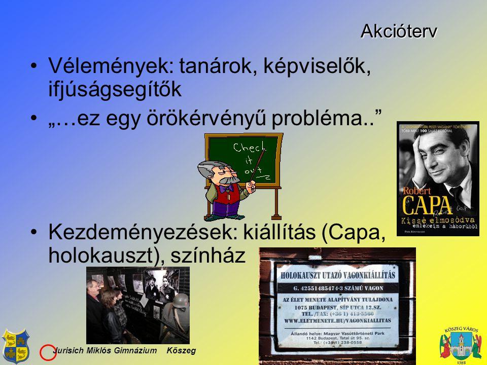 """Jurisich Miklós Gimnázium KőszegAkcióterv Vélemények: tanárok, képviselők, ifjúságsegítők """"…ez egy örökérvényű probléma.."""" Kezdeményezések: kiállítás"""
