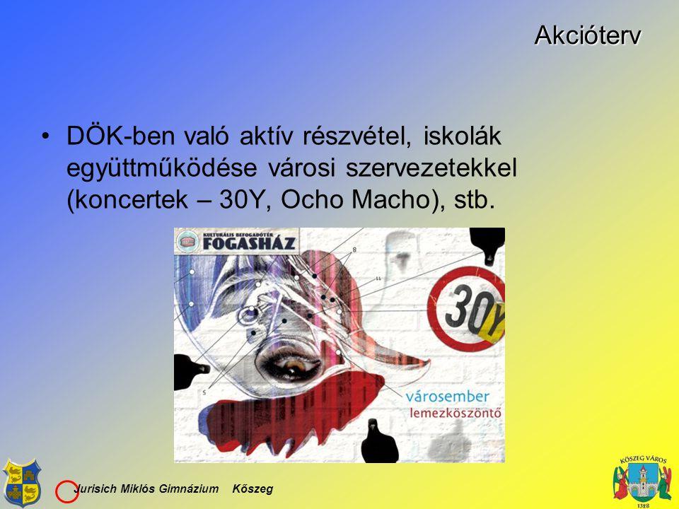 Jurisich Miklós Gimnázium KőszegAkcióterv DÖK-ben való aktív részvétel, iskolák együttműködése városi szervezetekkel (koncertek – 30Y, Ocho Macho), st