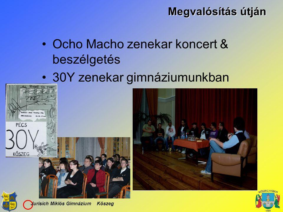 Jurisich Miklós Gimnázium Kőszeg Megvalósítás útján Ocho Macho zenekar koncert & beszélgetés 30Y zenekar gimnáziumunkban