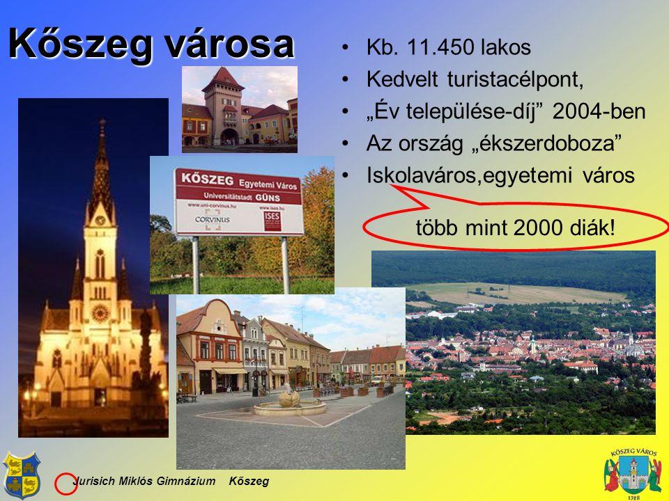 """Jurisich Miklós Gimnázium Kőszeg Kőszeg városa Kb. 11.450 lakos Kedvelt turistacélpont, """"Év települése-díj"""" 2004-ben Az ország """"ékszerdoboza"""" Iskolavá"""
