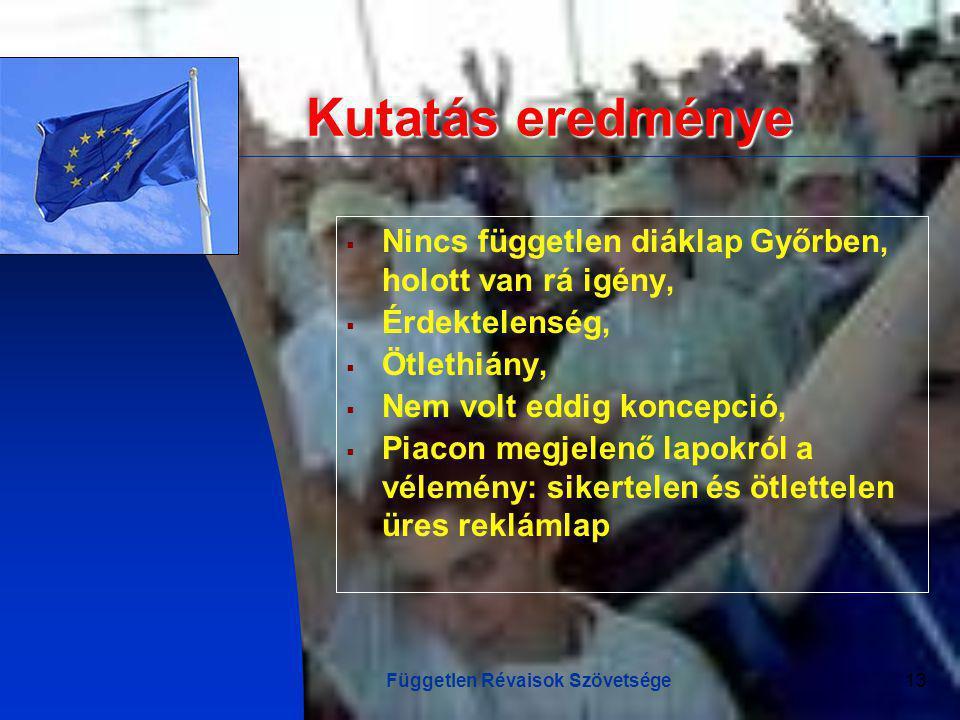 Független Révaisok Szövetsége13 Kutatás eredménye  Nincs független diáklap Győrben, holott van rá igény,  Érdektelenség,  Ötlethiány,  Nem volt eddig koncepció,  Piacon megjelenő lapokról a vélemény: sikertelen és ötlettelen üres reklámlap