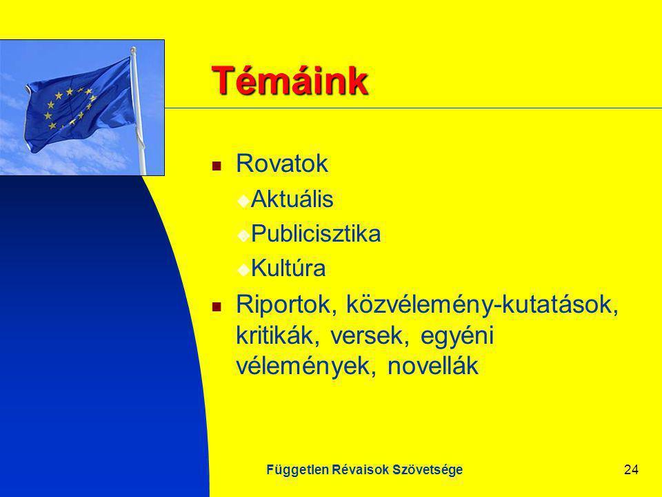 Független Révaisok Szövetsége24 Témáink Rovatok  Aktuális  Publicisztika  Kultúra Riportok, közvélemény-kutatások, kritikák, versek, egyéni vélemények, novellák