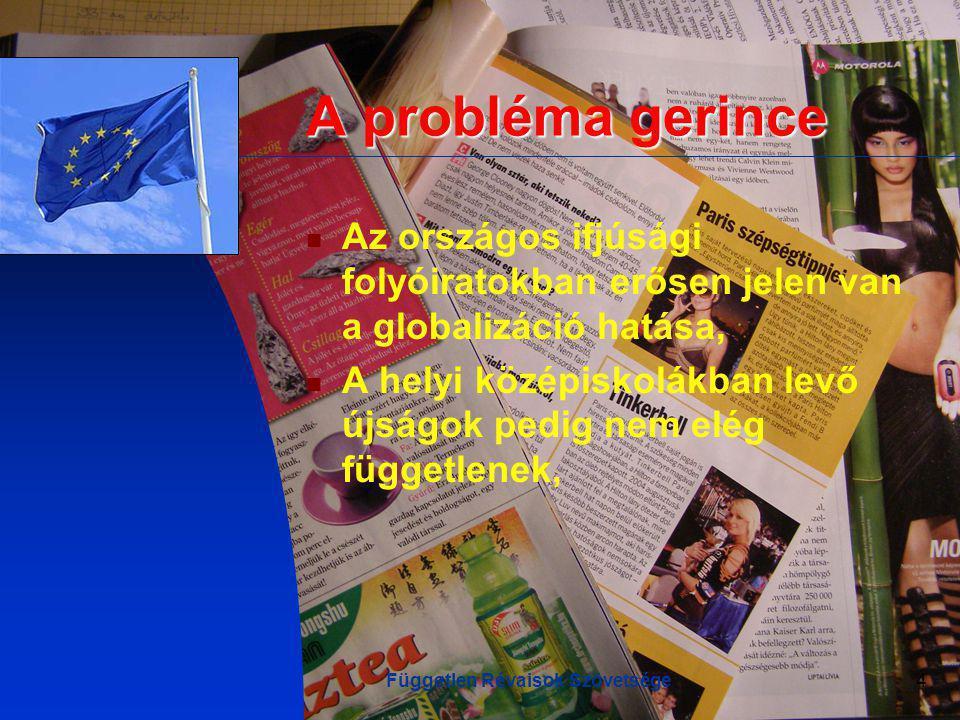Független Révaisok Szövetsége4 A probléma gerince Az országos ifjúsági folyóiratokban erősen jelen van a globalizáció hatása, A helyi középiskolákban levő újságok pedig nem elég függetlenek,