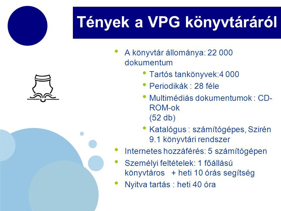 www.company.com Tények a VPG könyvtáráról A könyvtár állománya: 22 000 dokumentum Tartós tankönyvek:4 000 Periodikák : 28 féle Multimédiás dokumentumo
