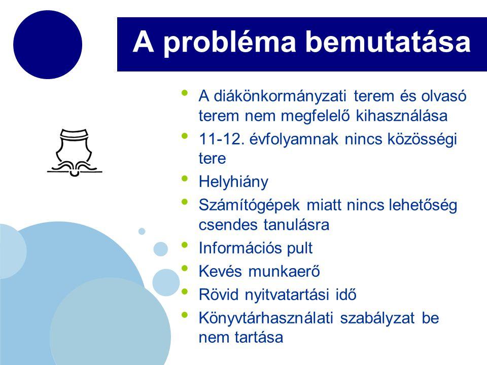 www.company.com A probléma bemutatása A diákönkormányzati terem és olvasó terem nem megfelelő kihasználása 11-12.