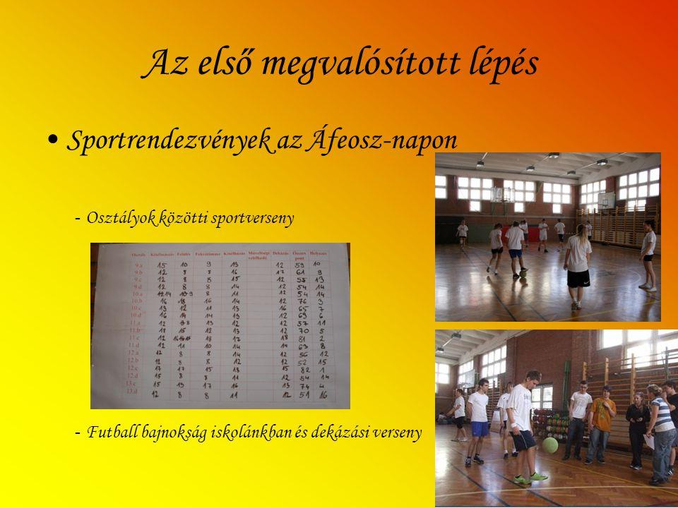 Az első megvalósított lépés Sportrendezvények az Áfeosz-napon - Osztályok közötti sportverseny - Futball bajnokság iskolánkban és dekázási verseny