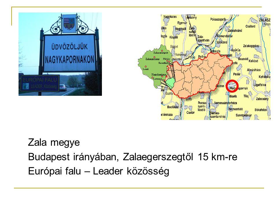 Zala megye Budapest irányában, Zalaegerszegtől 15 km-re Európai falu – Leader közösség
