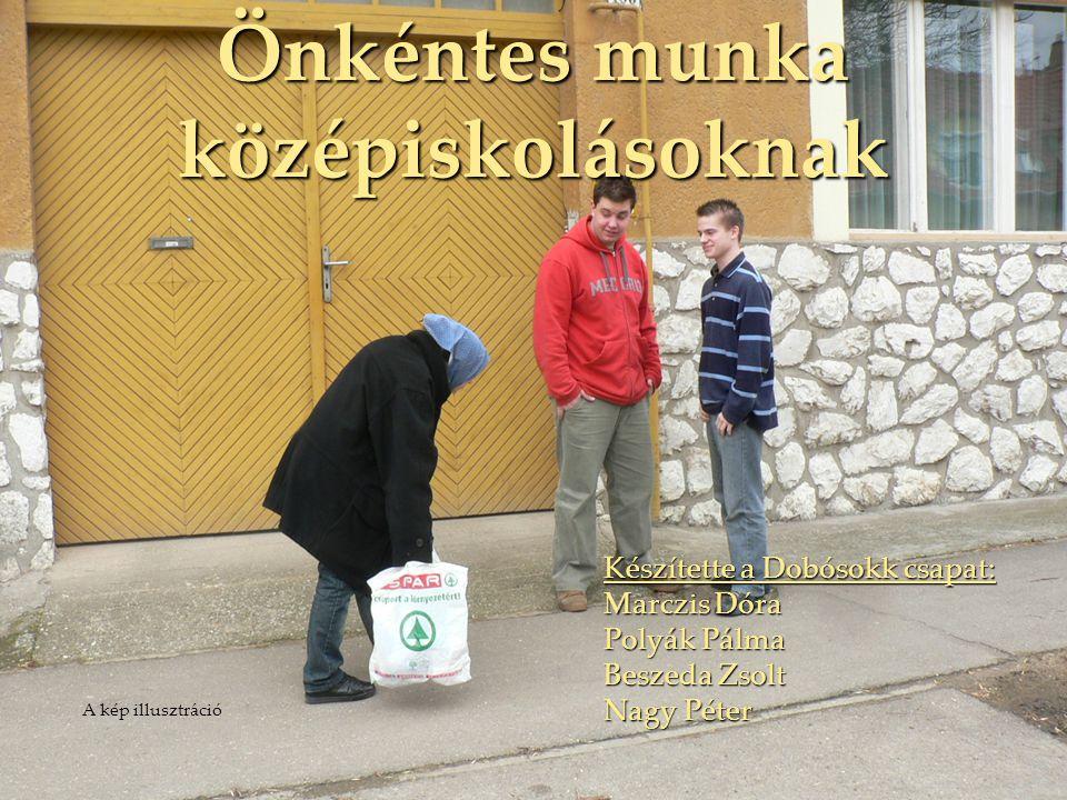 Önkéntes munka középiskolásoknak Készítette a Dobósokk csapat: Marczis Dóra Polyák Pálma Beszeda Zsolt Nagy Péter A kép illusztráció