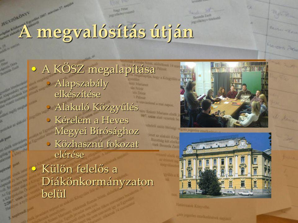 A KÖSZ megalapításaA KÖSZ megalapítása Alapszabály elkészítéseAlapszabály elkészítése Alakuló KözgyűlésAlakuló Közgyűlés Kérelem a Heves Megyei Bírósá
