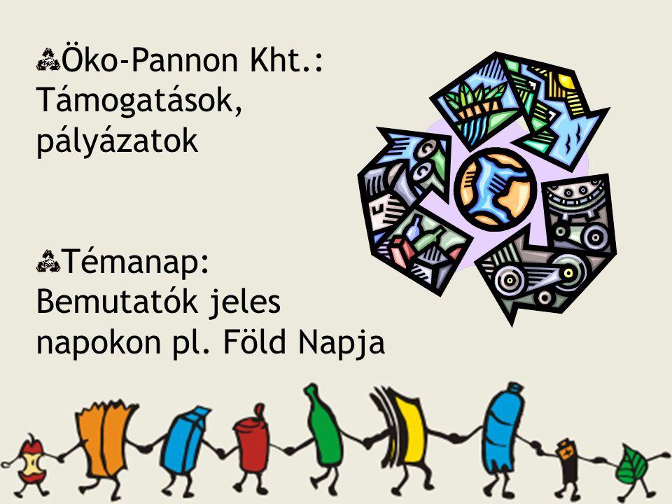 Öko-Pannon Kht.: Támogatások, pályázatok Témanap: Bemutatók jeles napokon pl. Föld Napja