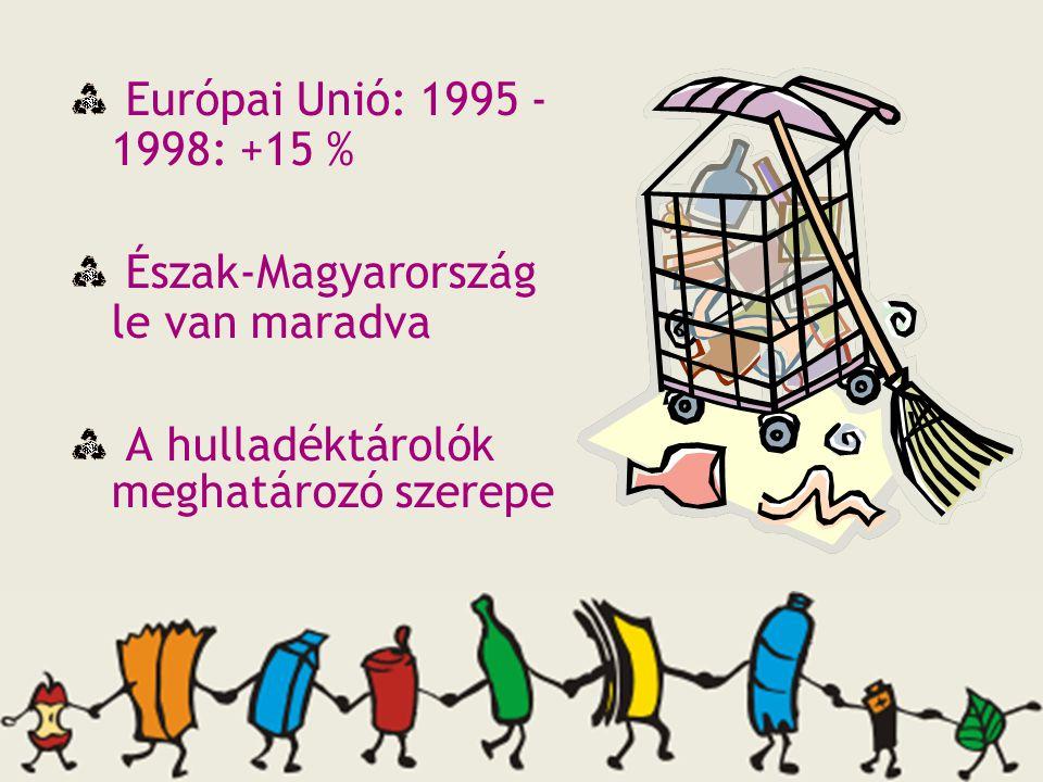 Európai Unió: 1995 - 1998: +15 % Észak-Magyarország le van maradva A hulladéktárolók meghatározó szerepe