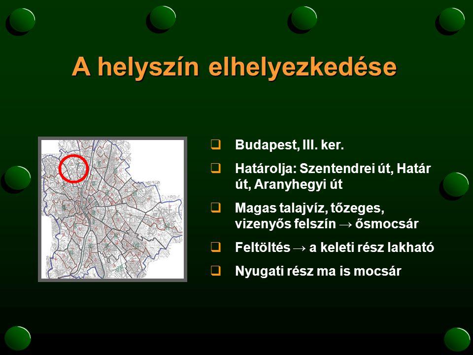 A helyszín történelme  Budapest legősibb neolitikus települése  Pannónia fővárosa  amfiteátrumok romjai  középkorban szőlőtermesztés, később mezővárosi szerep  XIII.