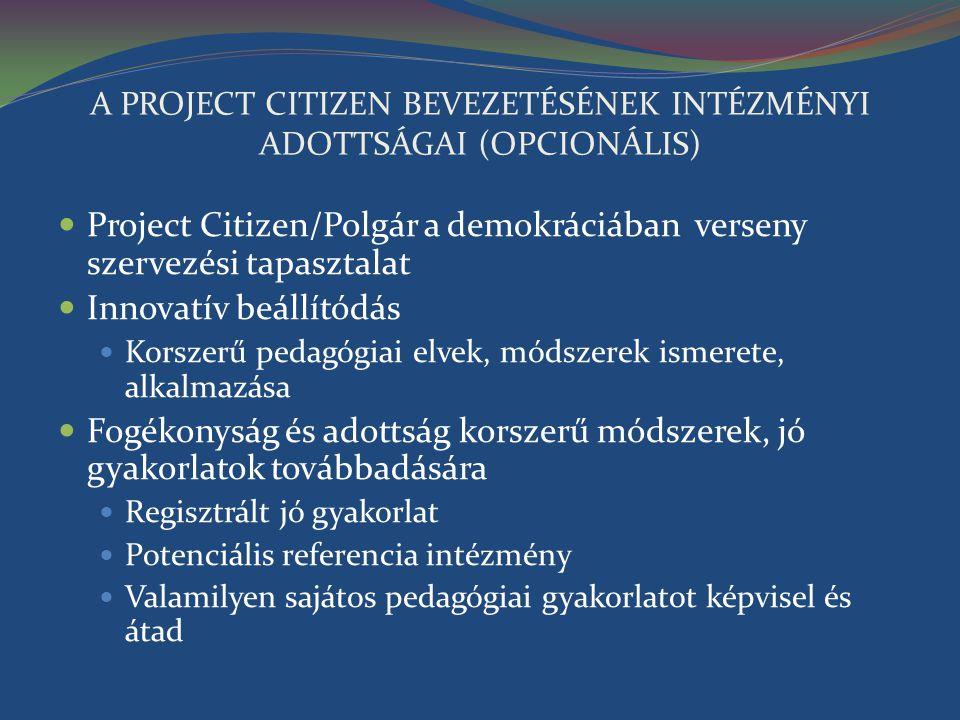A PROJECT CITIZEN BEVEZETÉSÉNEK INTÉZMÉNYI ADOTTSÁGAI (OPCIONÁLIS) Project Citizen/Polgár a demokráciában verseny szervezési tapasztalat Innovatív beá