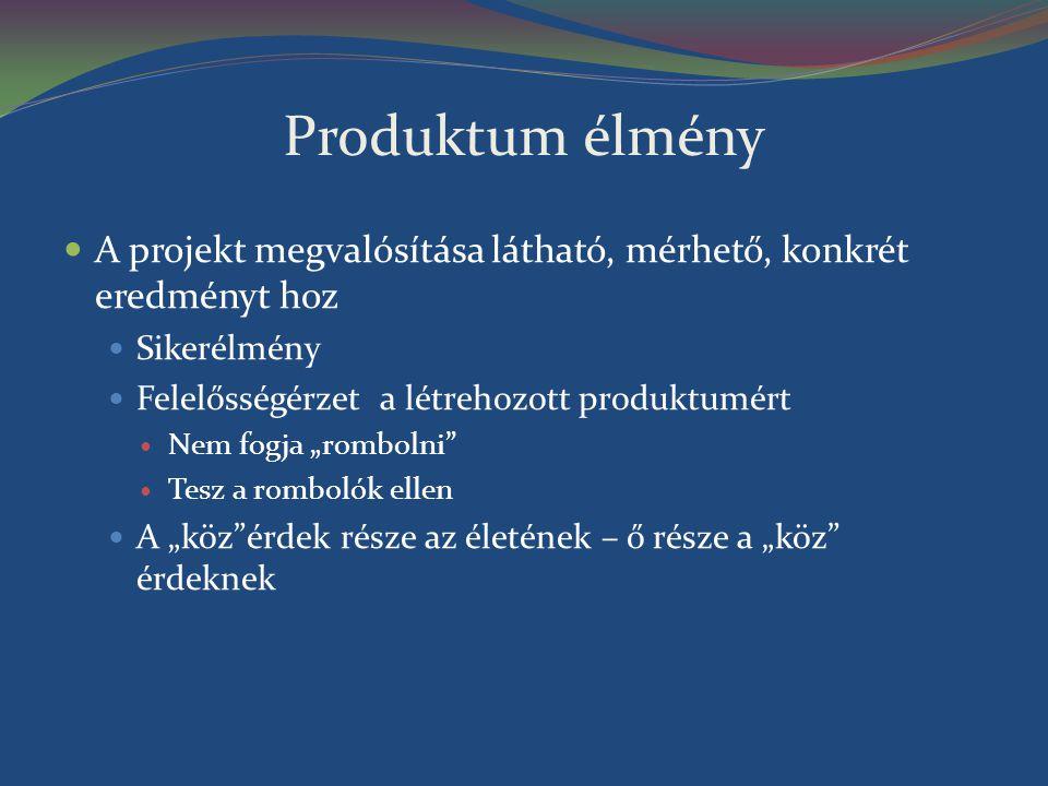 """Produktum élmény A projekt megvalósítása látható, mérhető, konkrét eredményt hoz Sikerélmény Felelősségérzet a létrehozott produktumért Nem fogja """"rom"""
