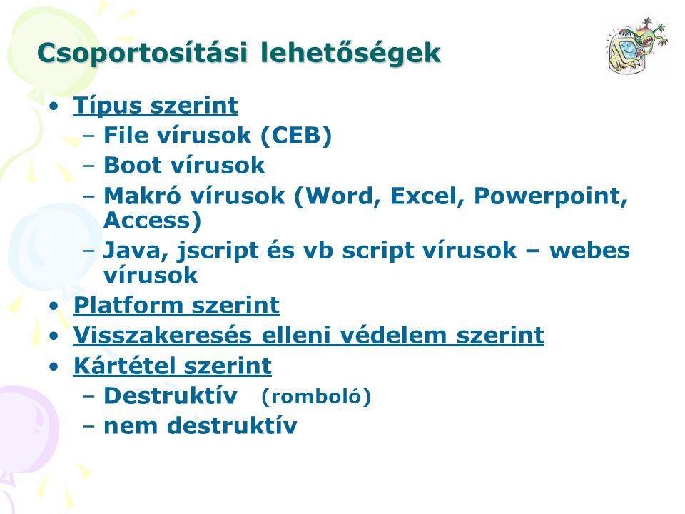 Csoportosítási lehetőségek Típus szerint –File vírusok (CEB) –Boot vírusok –Makró vírusok (Word, Excel, Powerpoint, Access) –Java, jscript és vb scrip
