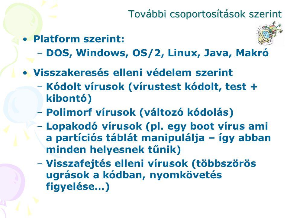 További csoportosítások szerint Platform szerint: –DOS, Windows, OS/2, Linux, Java, Makró Visszakeresés elleni védelem szerint –Kódolt vírusok (vírust