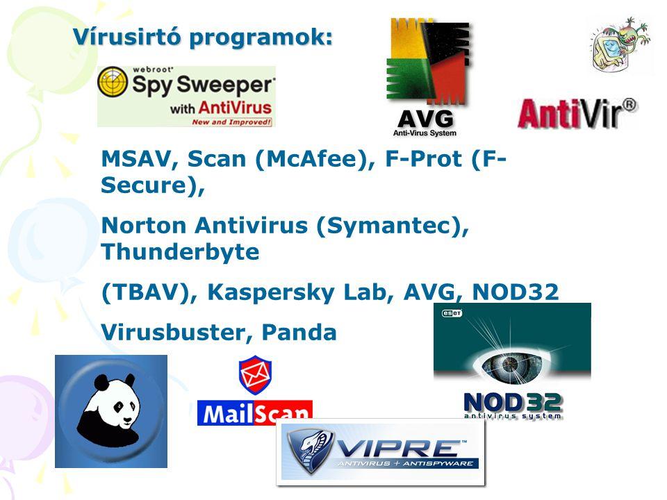 MSAV, Scan (McAfee), F-Prot (F- Secure), Norton Antivirus (Symantec), Thunderbyte (TBAV), Kaspersky Lab, AVG, NOD32 Virusbuster, Panda Vírusirtó progr