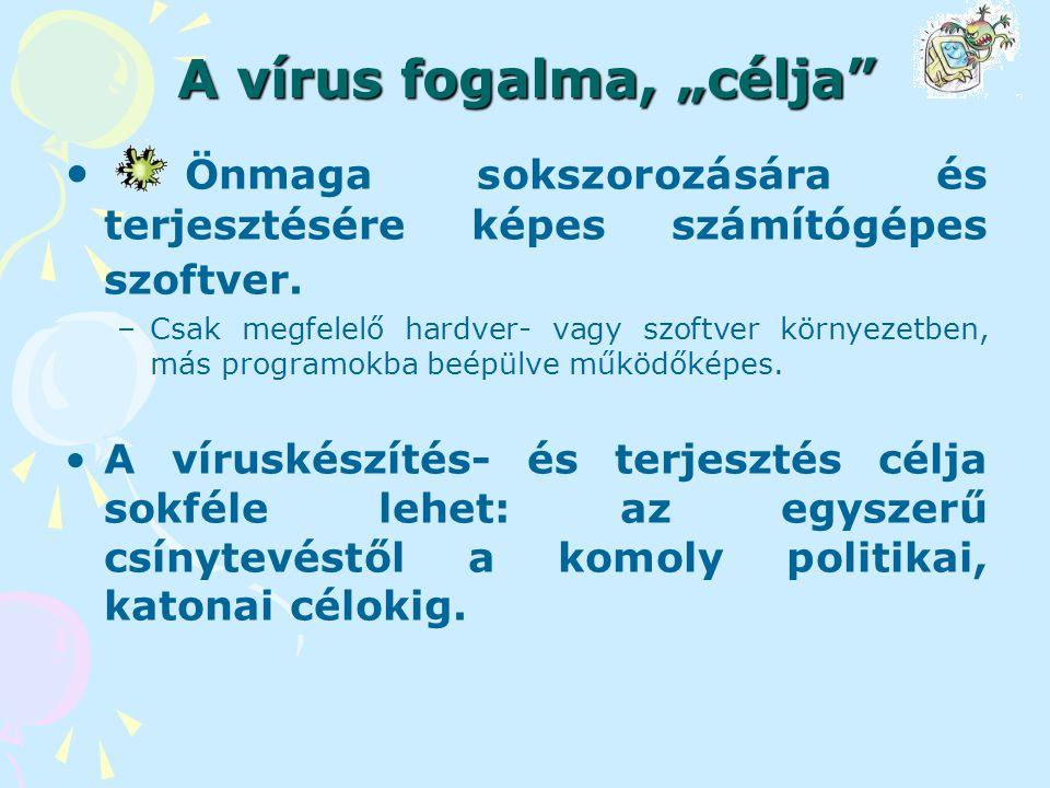 Csoportosítási lehetőségek Típus szerint –File vírusok (CEB) –Boot vírusok –Makró vírusok (Word, Excel, Powerpoint, Access) –Java, jscript és vb script vírusok – webes vírusok Platform szerint Visszakeresés elleni védelem szerint Kártétel szerint –Destruktív (romboló) –nem destruktív
