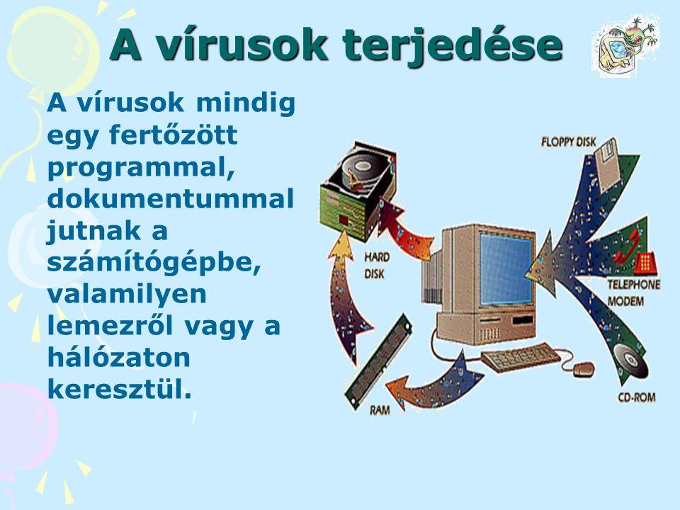 A vírusok terjedése A vírusok mindig egy fertőzött programmal, dokumentummal jutnak a számítógépbe, valamilyen lemezről vagy a hálózaton keresztül.