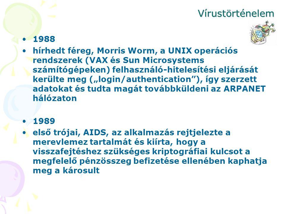 Vírustörténelem 1988 hírhedt féreg, Morris Worm, a UNIX operációs rendszerek (VAX és Sun Microsystems számítógépeken) felhasználó-hitelesítési eljárás