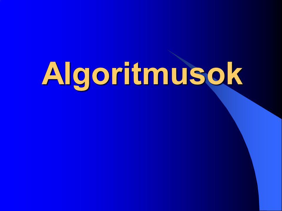 Algoritmus fogalma : Az algoritmus egy bizonyos feladattípus megoldására szolgáló lépések (utasítások, előírások) véges sorozata, amely alapján a feladat véges lépésben megoldható.