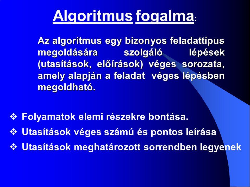 Algoritmus fogalma : Az algoritmus egy bizonyos feladattípus megoldására szolgáló lépések (utasítások, előírások) véges sorozata, amely alapján a fela