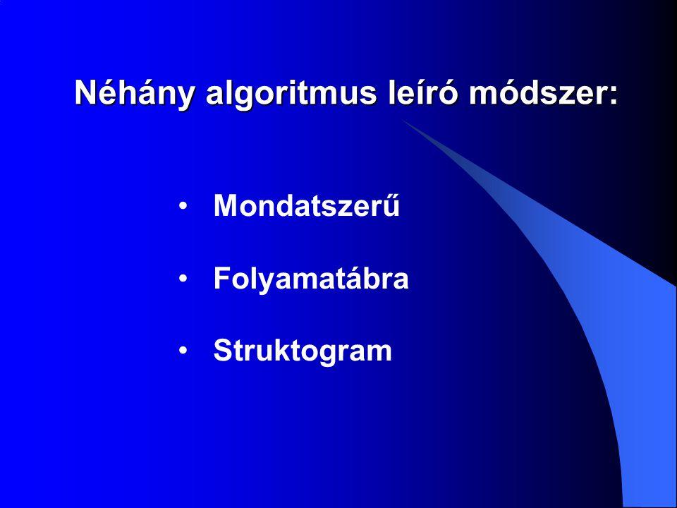 Mondatszerű leírás  Az algoritmusok megfogalmazásának első és legtermészetesebb módja a természetes emberi beszéd.