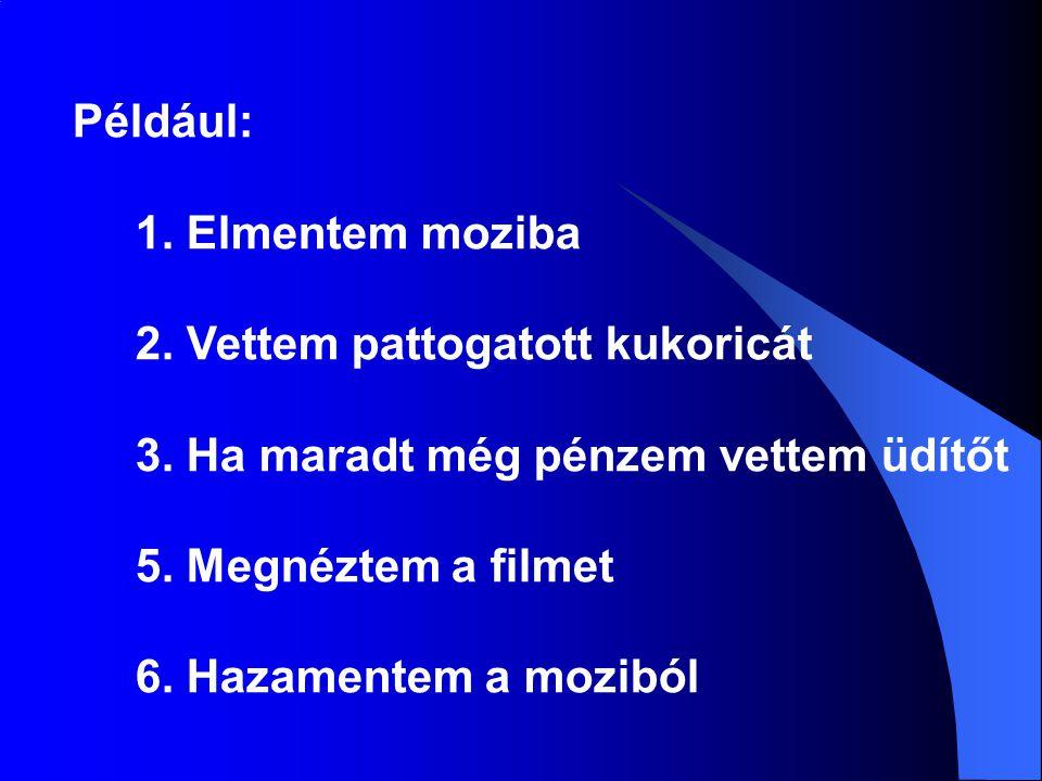 A folyamatábra Jelei: Ellipszis Ellipszis: a folyamatábra indulási és befejezési pontja Téglalap: Téglalap: elemi tevékenységek Rombusz: Rombusz: elágazás, választás Paralelogramma: Paralelogramma: input és output tevékenységek Nyilak: Nyilak: jelzik a haladás irányát A tevékenységeknek síkidomokat feleltetünk meg