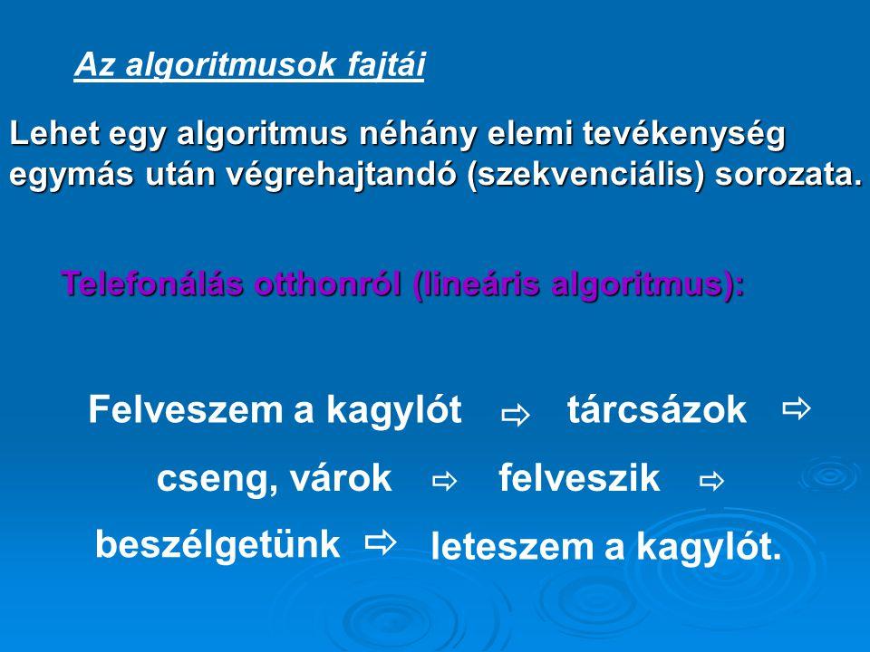  Az algoritmusok fajtái Lehet egy algoritmus néhány elemi tevékenység egymás után végrehajtandó (szekvenciális) sorozata. Telefonálás otthonról (line