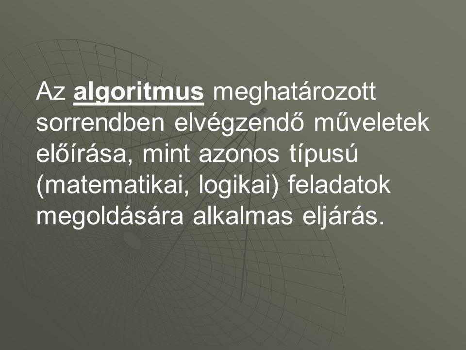 Az algoritmus meghatározott sorrendben elvégzendő műveletek előírása, mint azonos típusú (matematikai, logikai) feladatok megoldására alkalmas eljárás