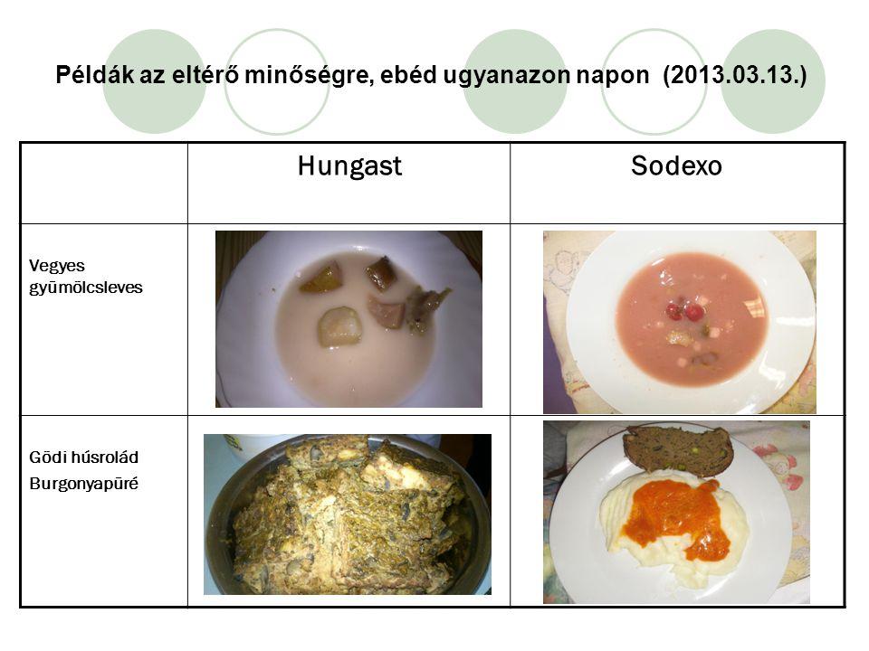 Példák az eltérő minőségre, ebéd ugyanazon napon (2013.03.13.) HungastSodexo Vegyes gyümölcsleves Gödi húsrolád Burgonyapüré