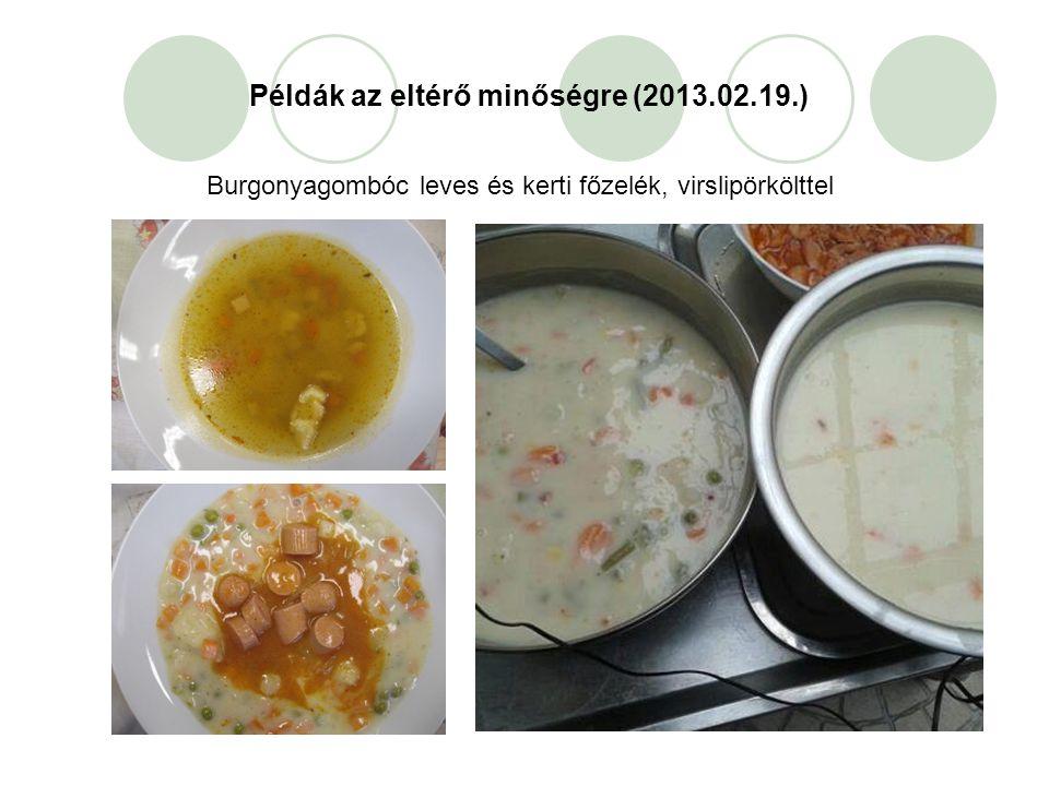 Példák az eltérő minőségre (2013.02.19.) Burgonyagombóc leves és kerti főzelék, virslipörkölttel