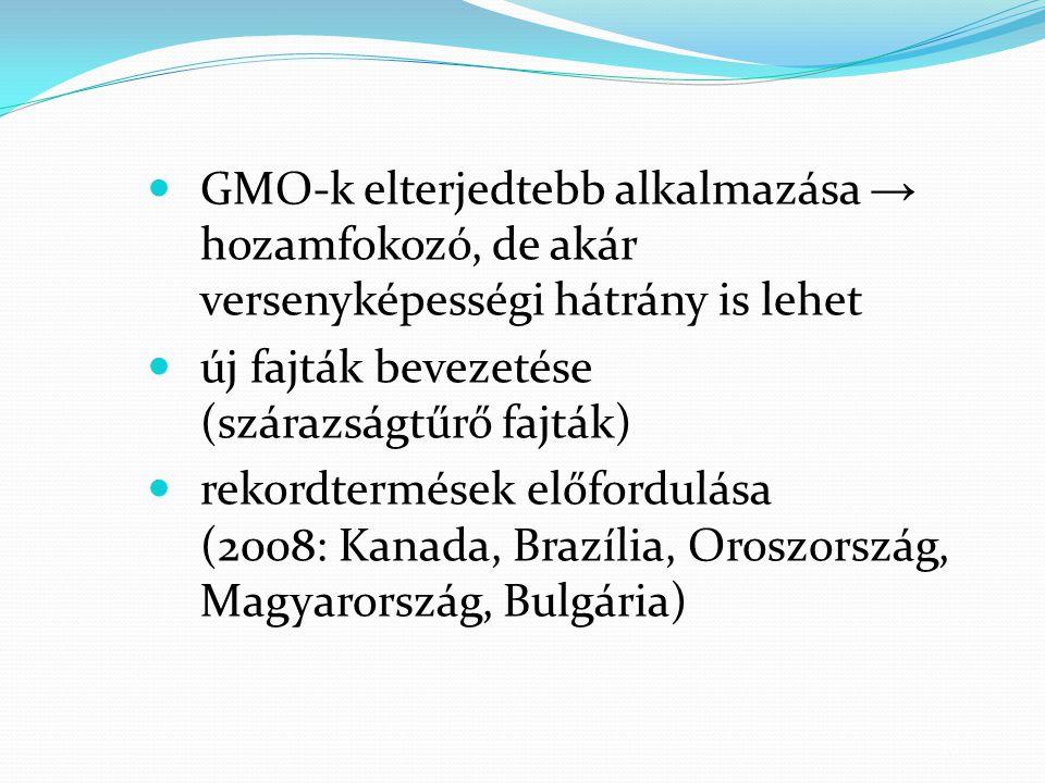 16 GMO-k elterjedtebb alkalmazása → hozamfokozó, de akár versenyképességi hátrány is lehet új fajták bevezetése (szárazságtűrő fajták) rekordtermések előfordulása (2008: Kanada, Brazília, Oroszország, Magyarország, Bulgária)